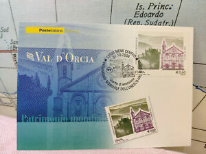 HonnêTe Cartolina Val D'orcia Siena Patrimonio Mondiale Timbro 2008 Poste Filatelia L5