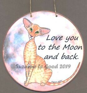 Oriental-cat-art-painting-laminated-sign-from-original-Suzanne-Le-Good