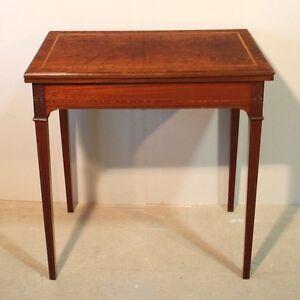 Antique Edwardian Sheraton Style Inlaid Mahogany Card Table Uk