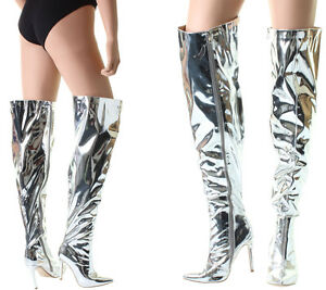 d7e360839cc Silver Metallic Foil Over The Knee Thigh High Heel Stiletto Pointed ...