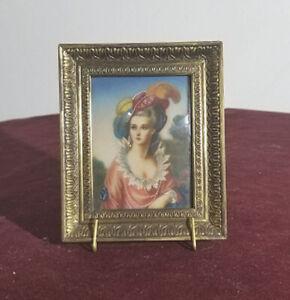 Pintura En Miniatura Antiguo señorita retrato DP 259 C/Omar. | eBay