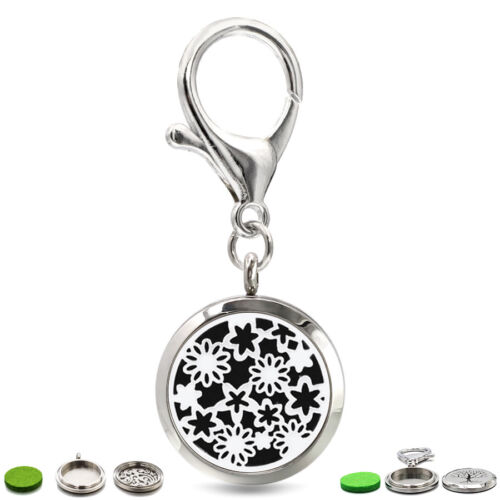 1pc Stainless Pendant Aroma Essential Oil Diffuser Twist Locket Pendant Keyring