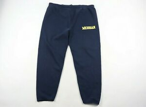 Vintage-90s-Mens-2XL-XXL-Michigan-Wolverines-Spell-Out-Sweatpants-Joggers-Blue