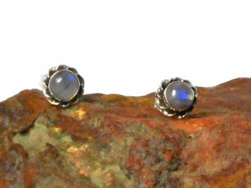 Piedra Lunar Piedra Preciosa Stud Pendientes de Plata 925-5 mm