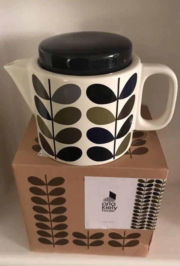 ORLA KIELY CeramiC Teapot-70s Ink Multi Stem Khaki & Marine ( BNIB)