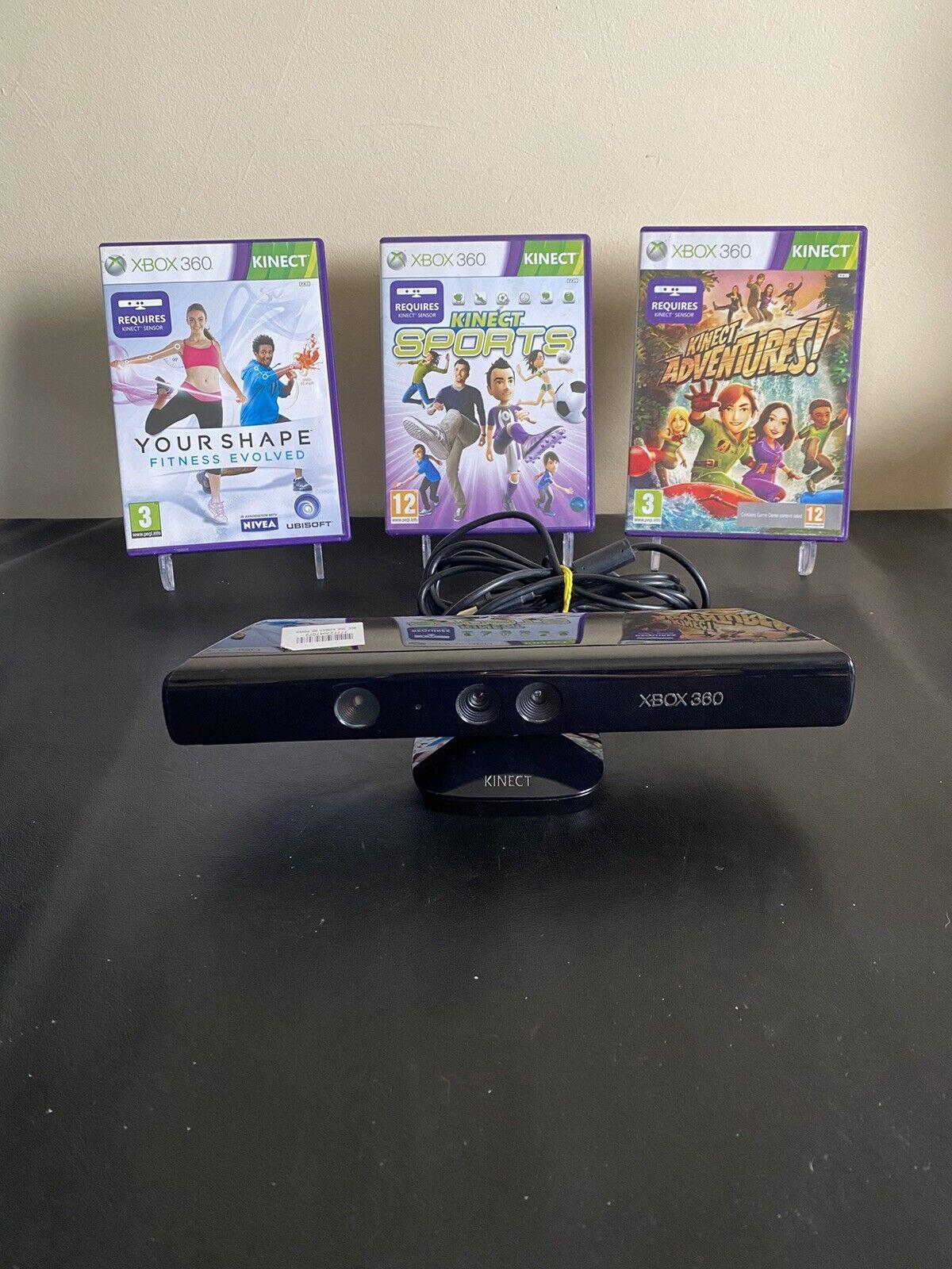 Xbox 360 Kinect Sensor + 3 Games Tested And Working
