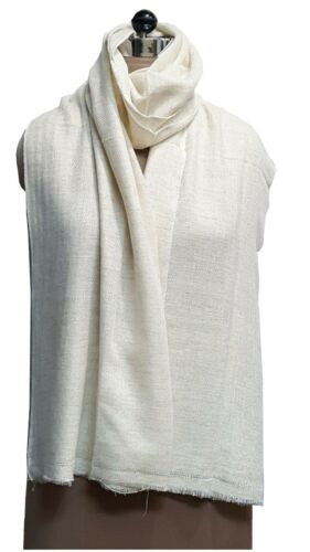 100/% Wool Cashmere Off White//Ivory Women/'s//Ladies Winter Scarves//Stoles//Shawls