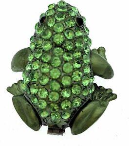 Kubla Crafts Enameled Tree Frog Mini Trinket Box, Covered with Austrian...