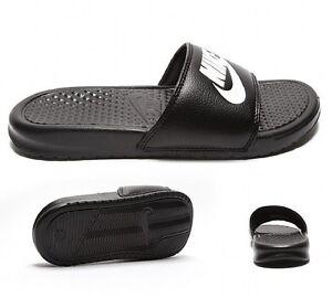 4653351671f9 NIKE Benassi JDI Swoosh Slides Sandals BLACK   WHITE New Without Box ...