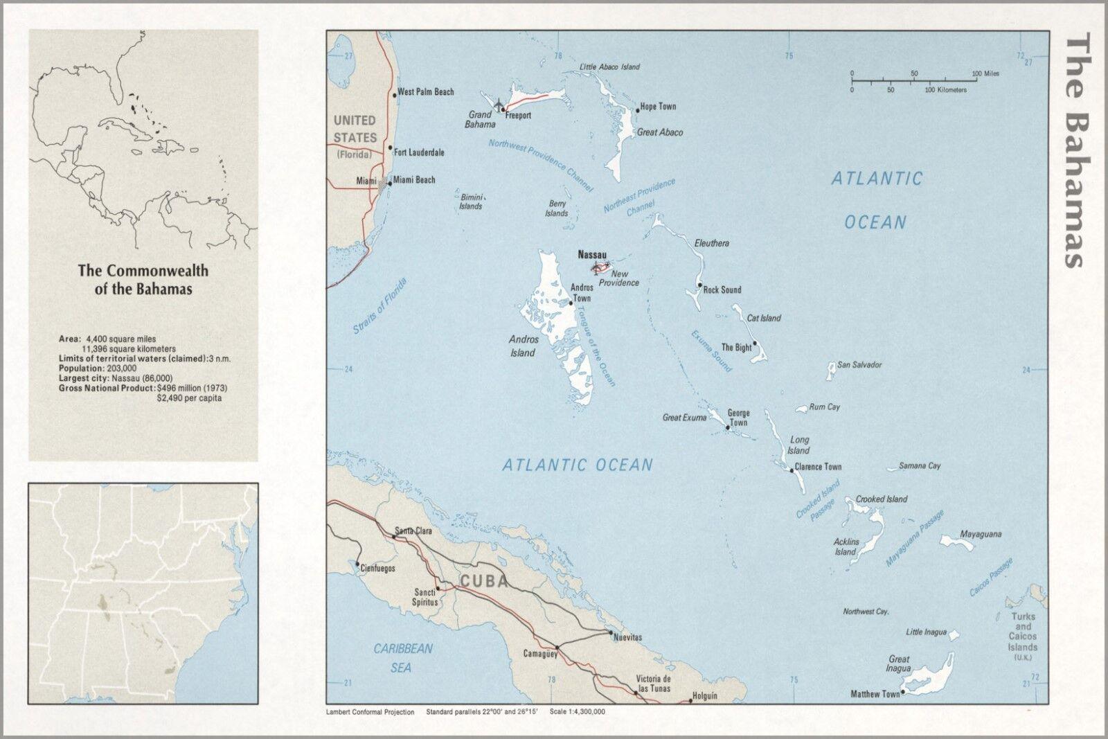 Poster, Molte Misure; Cia Mappa The Bahamas Bahamas Bahamas 1976 P2 258e45