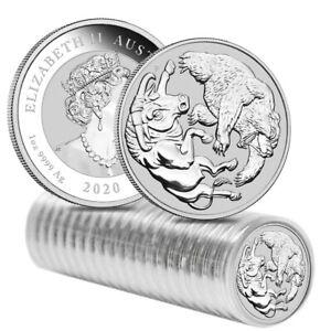 Roll of 20 - 2020 1 oz Silver Australian Bull and Bear Coin Perth Mint .9999