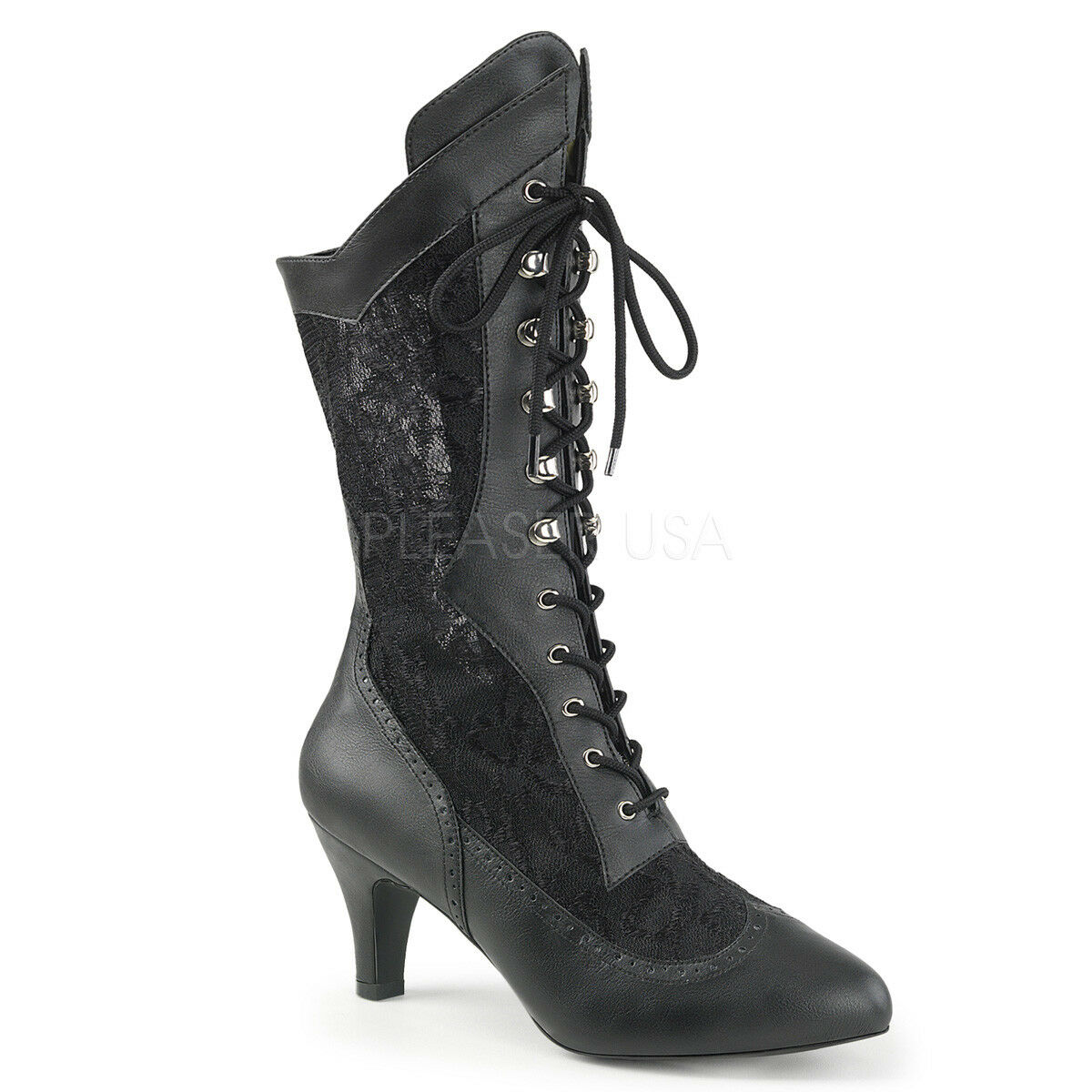 DIVINE-1050 3  WIDE WIDTH-SHAFT GRANNY VINTAGE COSTUME VICTORIAN  MID ANKLE BOOT