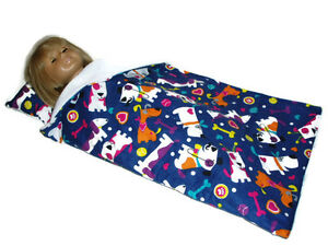 """Colorful Dogs Sleeping Bag fits American Girl 18"""" Doll Clothes"""