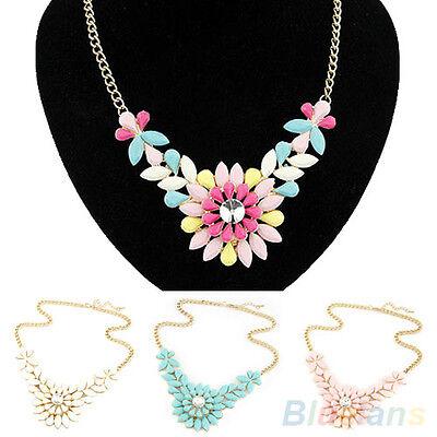 Womens Multicolor Flower Pendant Collar Chain Choker Necklace Costume Jewelry