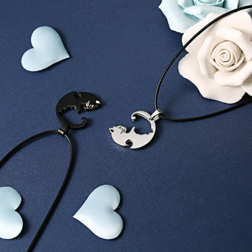 2PCS//Set Titanium Steel Animal Cat Pendants Necklace Couples Necklaces JewelryCP