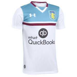 Aston Villa Fc Childrens Football Shirt White Away Under Armour Jersey 2016 2017 Ebay