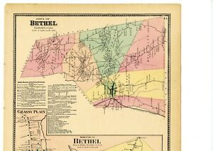 1874 Map Bethel, Connecticut, Fairfield County, from Beers Atlas w ...