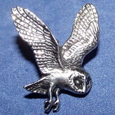 Pewter Flying Owl Brooch Pin : Craftsman Quality