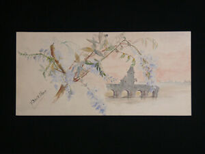 Ducrest-Villeneuve-Watercolour-Original-circa-1890-Art-Nouveau-Bridge-Batisses