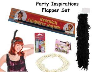 "GroßZüGig Flapper Ladies Set Headband,cig Holder,72"" Beads,boa Fancy Dress Kit 5pcs Black Ohne RüCkgabe Kleidung & Accessoires Kostüme & Verkleidungen"