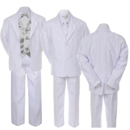 7pc Boy Baby Kid Teen Formal Wedding White Suit Tuxedo Extra Vest Bow Tie sz S-7