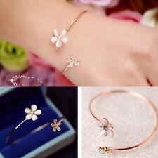 mädchen opal crystal double flower manschette armband armband verstellbar