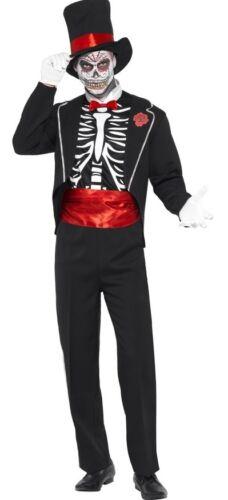 Da Uomo Da Smoking scheletro giorno dei morti Halloween SPOSO Fancy Dress Costume Outfit
