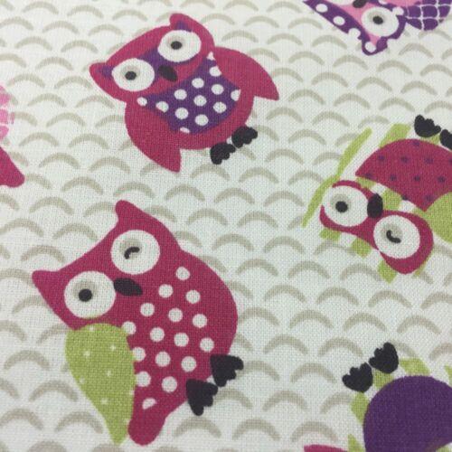 """137cm de ancho Lifestyle Toot Búhos 100/% tela de algodón para cojines tapicería 54/"""""""