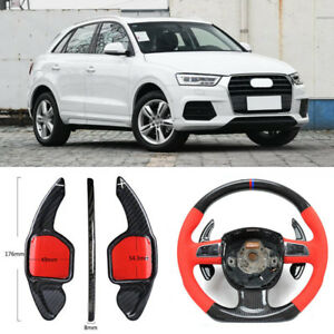 Carbon-Fiber-Gear-DSG-Steering-Wheel-Paddle-Shifter-Cover-Fit-For-Audi-Q3-13-18