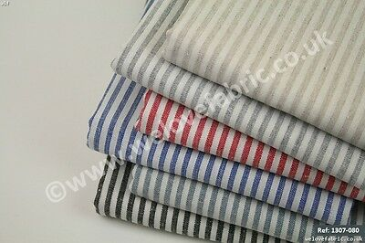 French Ticking Striped Natural Cotton & Linen Blend Fabric  (1307-080) FQ