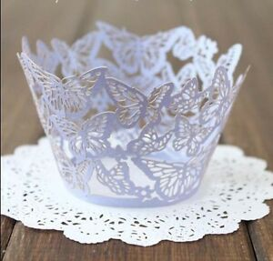 40x Lilac butterfly laser cut cupcake wrappers wedding party favour decoration