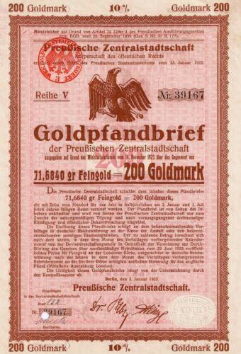 Preußische Zentralstadtschaft Berlin histor. Gold Pf. 1925 Bank Anleihe Preussen
