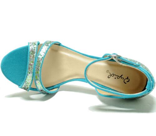 Aqua Strap New Party Women's Glitter Shoes Open Ankle Stilettos Blue Toe Evening 1vYZBvHqn