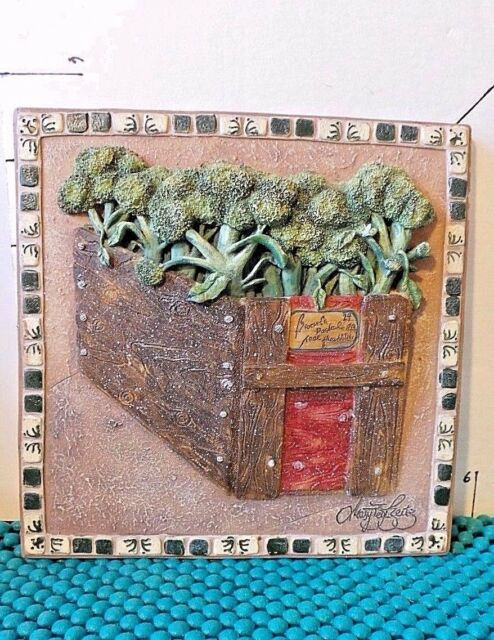 Decorative Resin Wall Plaque, Red Wooden Box With Broccoli, Signed by Artist