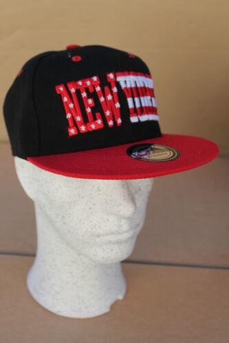 Genuine Snapback cap-08ny Cap Basecap NEW YORK NOIR//STARS /& Bande NOUVEAU