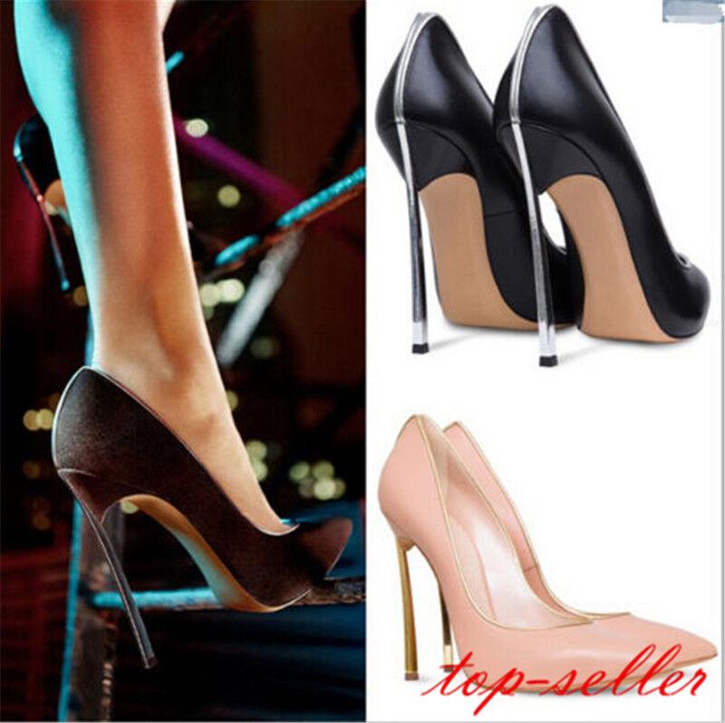Plus Taille Stars Slim Line Super Haute Mince talons solide PU Wedge Talons Aiguilles Chaussures