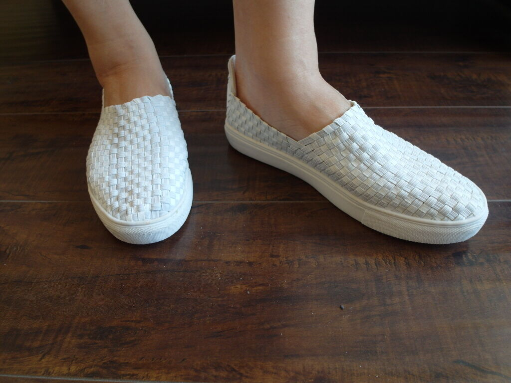 New Fashion Casual Elastic Fabric Woven Sizes Stretch Slip-On Sneakers White Sizes Woven 8.5 97cc76
