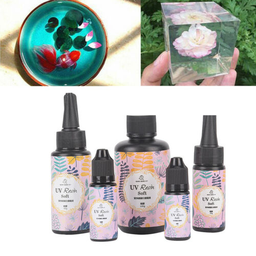 Transparent UV Resin Ultraviolet Solar Cure Activated Soft DIY Craft Ornament XJ