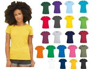 Maglietta-Donna-Cotone-Manica-Corta-Fruit-Of-The-Loom-maglia-Personalizzabile