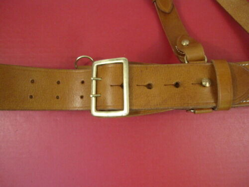 Repro WWII US Army Officer/'s Leather Sam Brown Browne Belt w//Shoulder Strap