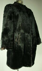 Vintage 80s Real Rabbit Fur Coat S Two Tone Brown So Soft Pockets Lined