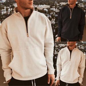 Men-039-s-Half-Zip-Fleece-Jumper-Pullover-Jacket-Sweater-Top-Autumn-Pullover-Blouse