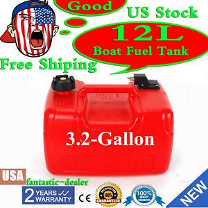 Portable 3.2 Gallon Marine Outboard Boat Motor Gas Tank External Fuel Tank 12L