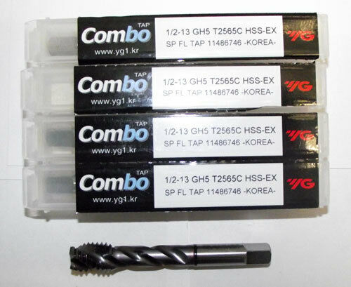 5pc 1/2-13 YG1 Combo Tap Spiral Flute Taps for Multi-Purpose Coated