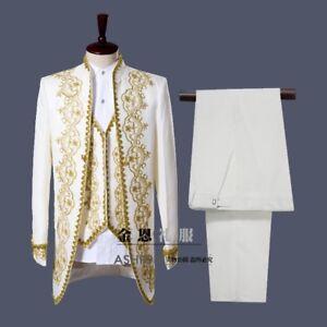 3pc Or Blanc Broderie Hommes Costumes Marié Smoking Mariage-afficher Le Titre D'origine