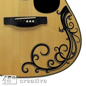 acoustic guitar vine decal full size dreadnought acoustic guitar vinyl graphic ebay. Black Bedroom Furniture Sets. Home Design Ideas