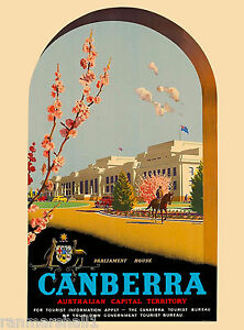 Image is loading Canberra-Australia-Australian-by-Air -Vintage-Travel-Advertisement-