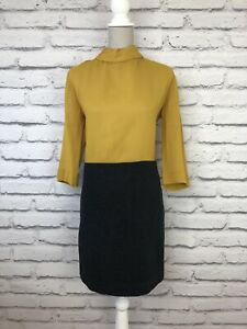 Bloque-De-Color-Gris-Amarillo-cos-Smart-parte-de-lana-pura-vestido-de-cuello-alto-slighty-UK-10