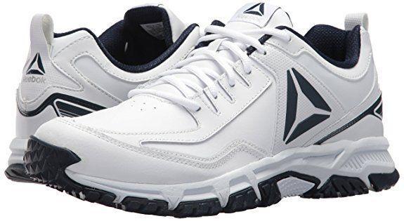 Reebok Men s Ridgerider Leather Sneaker White coll. Navy 12 M US 45106b211