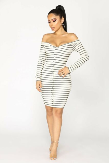 New Classic Stripe Black White Long Sleeve Off The Shoulder Midi Dress size M 10